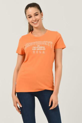 UCLA - BODEGA Turuncu Bisiklet Yaka Baskılı Kadın T-shirt