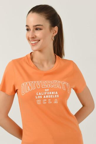 UCLA - BODEGA Turuncu Bisiklet Yaka Baskılı Kadın T-shirt (1)