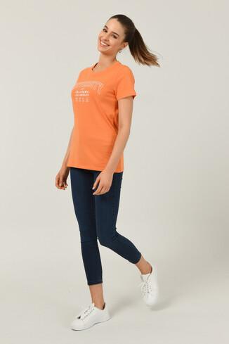BODEGA Turuncu Bisiklet Yaka Baskılı Kadın T-shirt - Thumbnail (2)
