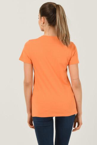 BODEGA Turuncu Bisiklet Yaka Baskılı Kadın T-shirt - Thumbnail (3)