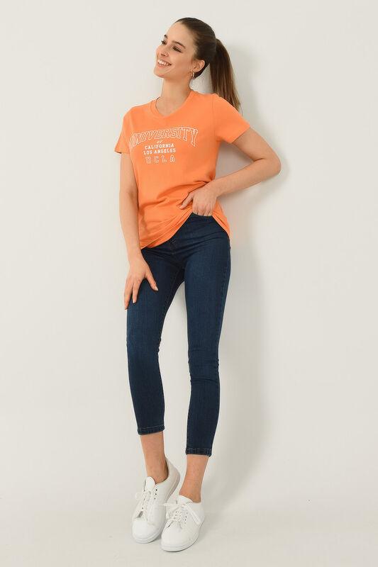 BODEGA Turuncu Bisiklet Yaka Baskılı Kadın T-shirt - Thumbnail