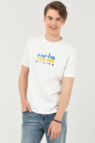 UCLA - BORON Beyaz Bisiklet Yaka Baskılı Erkek T-shirt