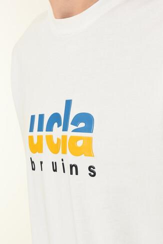UCLA - BORON Beyaz Bisiklet Yaka Baskılı Erkek T-shirt (1)