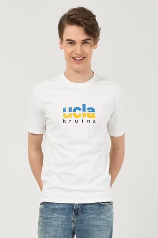 BORON Beyaz Bisiklet Yaka Baskılı Erkek T-shirt - Thumbnail (2)