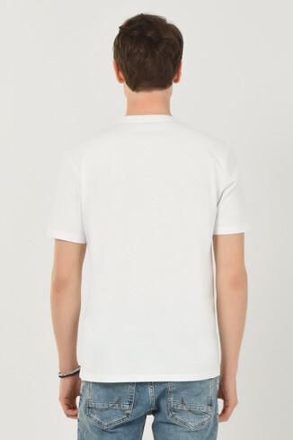 BORON Beyaz Bisiklet Yaka Baskılı Erkek T-shirt - Thumbnail (3)
