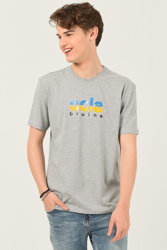 UCLA - BORON Gri Bisiklet Yaka Baskılı Erkek T-shirt