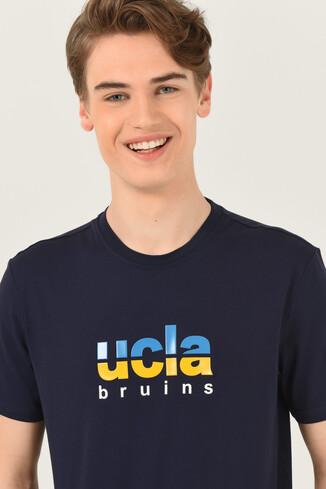 UCLA - BORON Lacivert Bisiklet Yaka Baskılı Erkek T-shirt