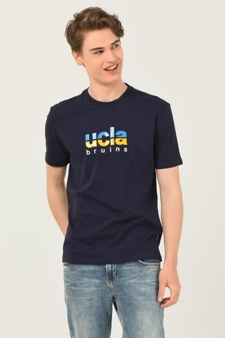 UCLA - BORON Lacivert Bisiklet Yaka Baskılı Erkek T-shirt (1)
