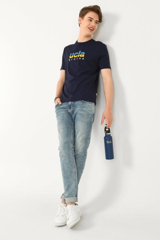BORON Lacivert Bisiklet Yaka Baskılı Erkek T-shirt - Thumbnail