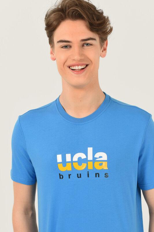 BORON Mavi Bisiklet Yaka Baskılı Erkek T-shirt - Thumbnail