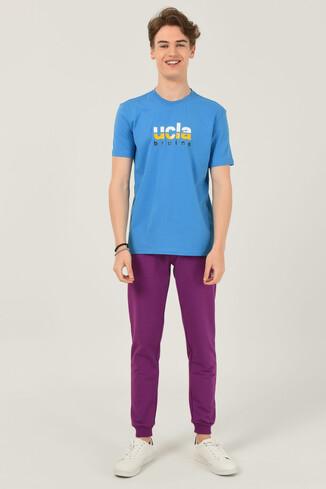 BORON Mavi Bisiklet Yaka Baskılı Erkek T-shirt - Thumbnail (2)