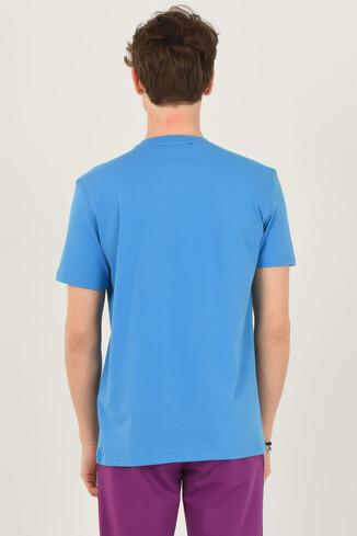BORON Mavi Bisiklet Yaka Baskılı Erkek T-shirt - Thumbnail (3)
