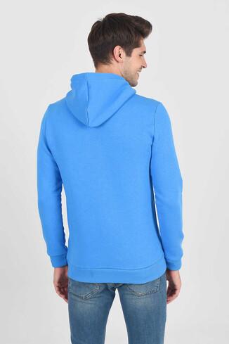 BRADLEY Mavi Kapüşonlu Erkek Sweatshirt - Thumbnail (4)