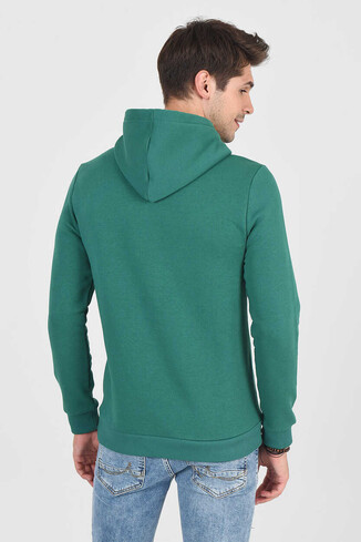 BRADLEY Yeşil Kapüşonlu Erkek Sweatshirt - Thumbnail (4)