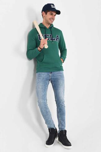BRADLEY Yeşil Kapüşonlu Erkek Sweatshirt - Thumbnail (5)