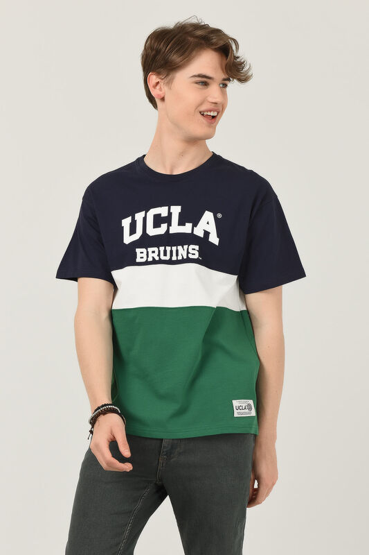 BRAWLEY Lacivert Oversize Bisiklet Yaka Baskılı Erkek T-shirt - Thumbnail