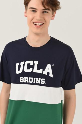 UCLA - BRAWLEY Lacivert Oversize Bisiklet Yaka Baskılı Erkek T-shirt (1)