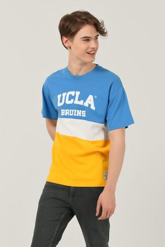 UCLA - BRAWLEY Mavi Oversize Bisiklet Yaka Baskılı Erkek T-shirt