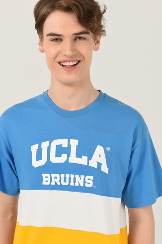 UCLA - BRAWLEY Mavi Oversize Bisiklet Yaka Baskılı Erkek T-shirt (1)