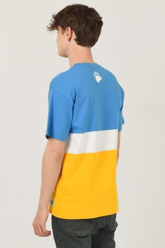 BRAWLEY Mavi Oversize Bisiklet Yaka Baskılı Erkek T-shirt - Thumbnail (3)
