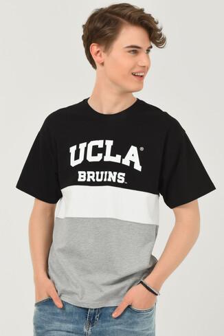 UCLA - BRAWLEY Siyah Oversize Bisiklet Yaka Baskılı Erkek T-shirt