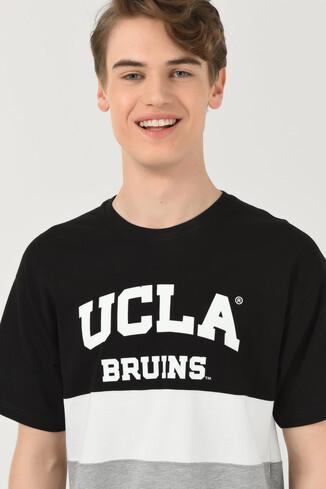 UCLA - BRAWLEY Siyah Oversize Bisiklet Yaka Baskılı Erkek T-shirt (1)