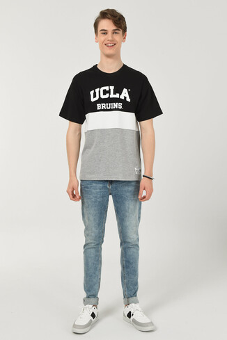 BRAWLEY Siyah Oversize Bisiklet Yaka Baskılı Erkek T-shirt - Thumbnail (2)