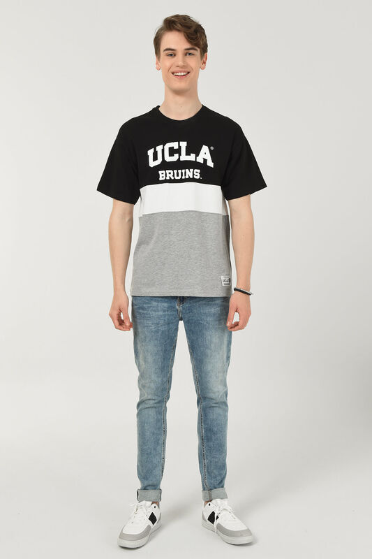 BRAWLEY Siyah Oversize Bisiklet Yaka Baskılı Erkek T-shirt - Thumbnail