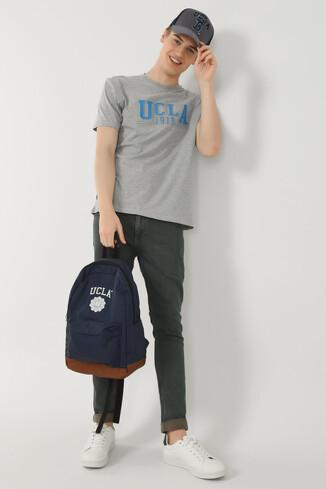 UCLA - CABAZON Gri Bisiklet Yaka Baskılı Erkek T-shirt