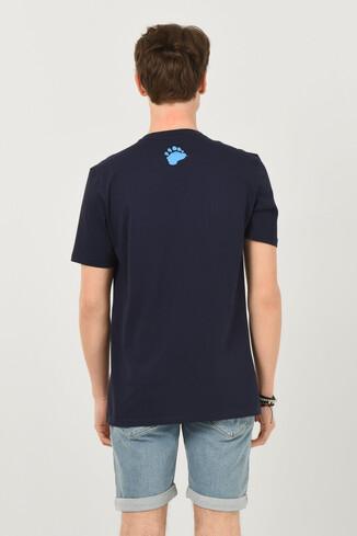 CABAZON Lacivert Bisiklet Yaka Baskılı Erkek T-shirt - Thumbnail (3)