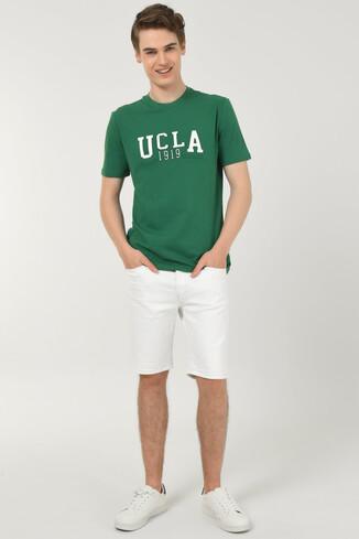 UCLA - CABAZON Yeşil Bisiklet Yaka Baskılı Erkek T-shirt