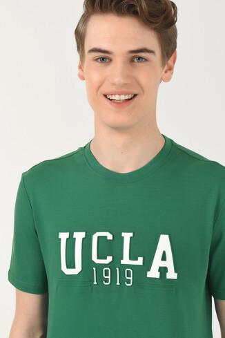 UCLA - CABAZON Yeşil Bisiklet Yaka Baskılı Erkek T-shirt (1)