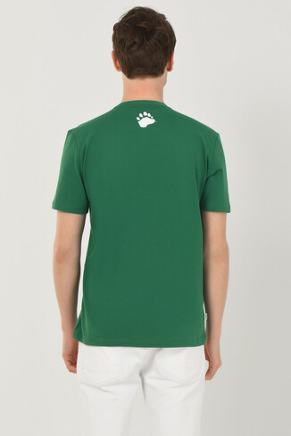 CABAZON Yeşil Bisiklet Yaka Baskılı Erkek T-shirt - Thumbnail (3)