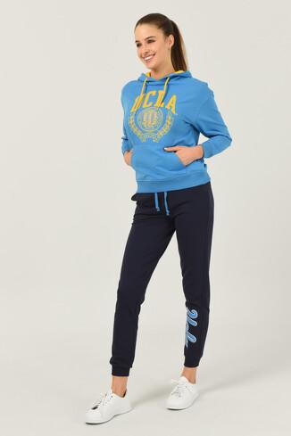 UCLA - CAMBRIA Mavi Kapüşonlu Kadın Sweatshirt
