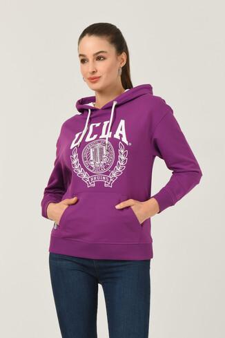 UCLA - CAMBRIA Mor Kapüşonlu Baskılı Kadın Sweatshirt