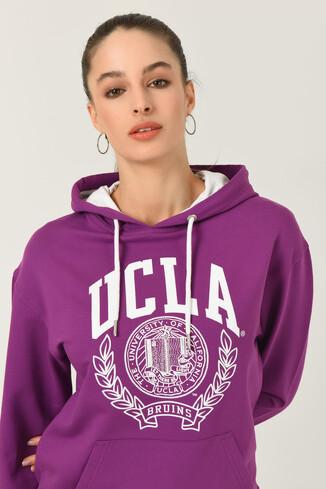 UCLA - CAMBRIA Mor Kapüşonlu Baskılı Kadın Sweatshirt (1)