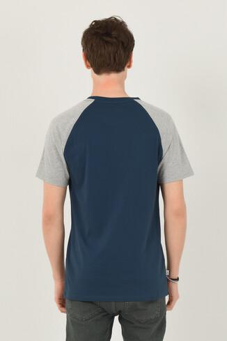 CANYON Mavi Bisiklet Yaka Erkek T-shirt - Thumbnail (3)