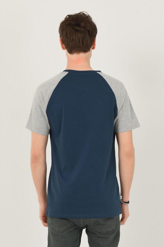 CANYON Mavi Bisiklet Yaka Erkek T-shirt - Thumbnail