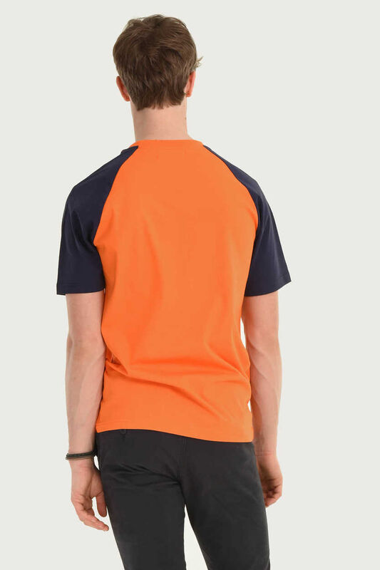 CANYON Turuncu Bisiklet Yaka Erkek T-shirt - Thumbnail
