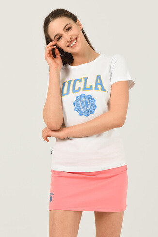 UCLA - CARMEL Beyaz Bisiklet Yaka Baskılı Kadın Tshirt