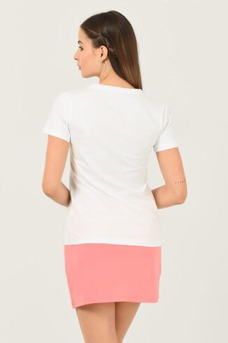 CARMEL Beyaz Bisiklet Yaka Baskılı Kadın Tshirt - Thumbnail (3)