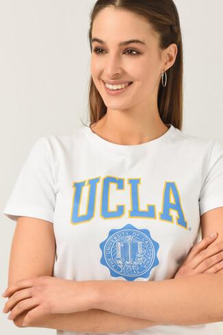 UCLA - CARMEL Beyaz Bisiklet Yaka Baskılı Kadın Tshirt (1)