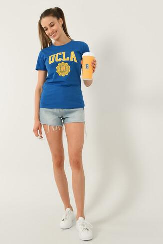 UCLA - CARMEL Mavi Bisiklet Yaka Baskılı Kadın Tshirt