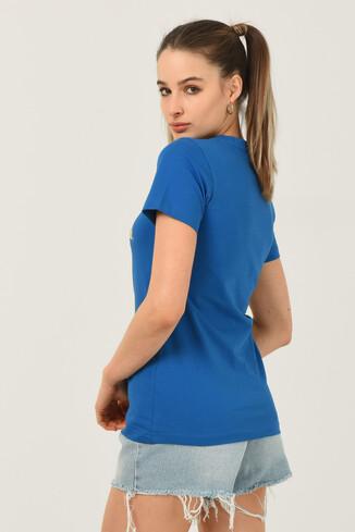 CARMEL Mavi Bisiklet Yaka Baskılı Kadın Tshirt - Thumbnail (3)