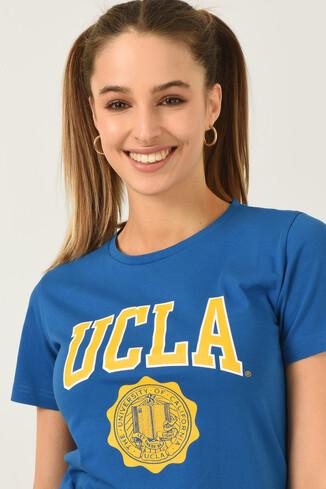 UCLA - CARMEL Mavi Bisiklet Yaka Baskılı Kadın Tshirt (1)