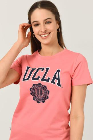 UCLA - CARMEL Pembe Bisiklet Yaka Baskılı Kadın Tshirt (1)