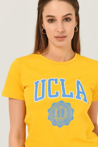 UCLA - CARMEL Sarı Bisiklet Yaka Baskılı Kadın Tshirt