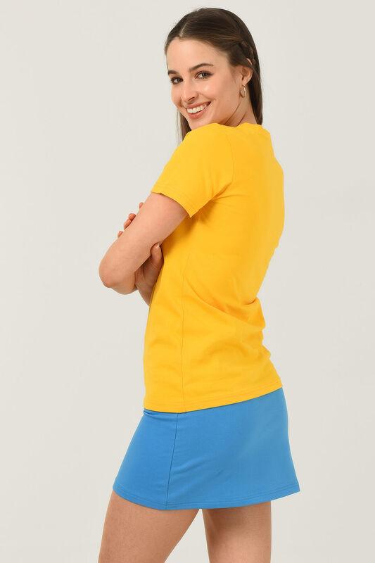 CARMEL Sarı Bisiklet Yaka Baskılı Kadın Tshirt - Thumbnail