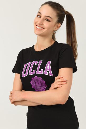 UCLA - CARMEL Siyah Bisiklet Yaka Baskılı Kadın Tshirt (1)