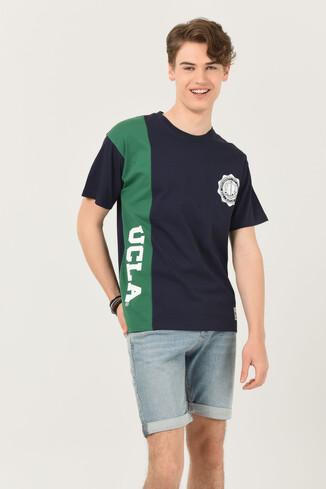 UCLA - CERES Lacivert Oversize Bisiklet Yaka Baskılı Erkek T-shirt